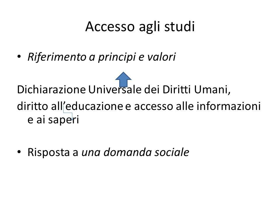 Accesso agli studi Riferimento a principi e valori Dichiarazione Universale dei Diritti Umani, diritto alleducazione e accesso alle informazioni e ai saperi Risposta a una domanda sociale