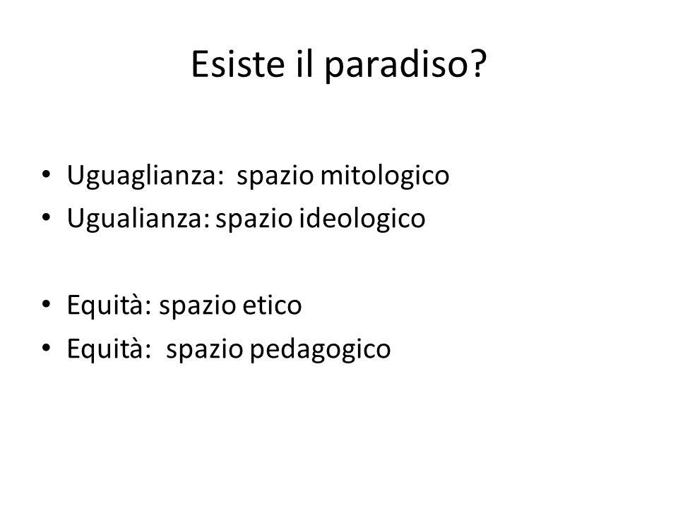 Esiste il paradiso? Uguaglianza: spazio mitologico Ugualianza: spazio ideologico Equità: spazio etico Equità: spazio pedagogico
