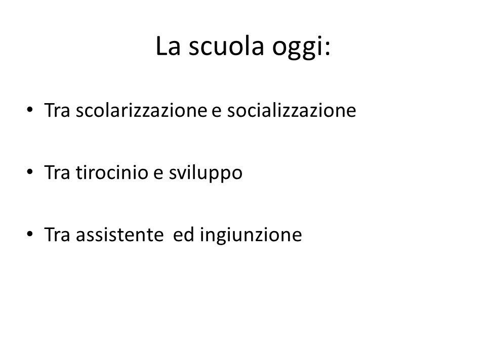 La scuola oggi: Tra scolarizzazione e socializzazione Tra tirocinio e sviluppo Tra assistente ed ingiunzione