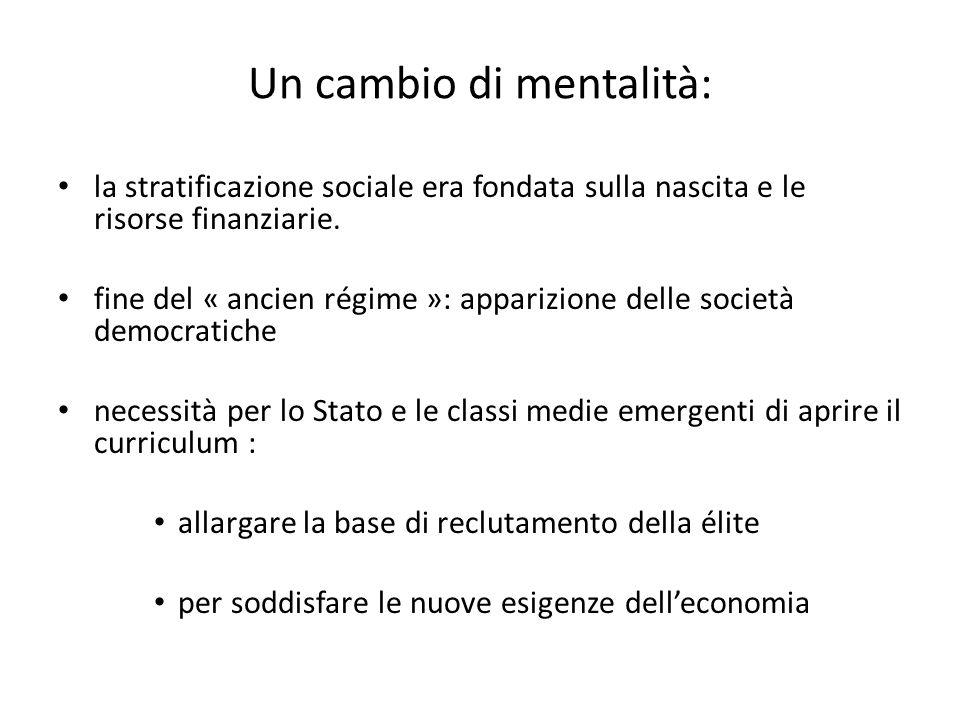Un cambio di mentalità: la stratificazione sociale era fondata sulla nascita e le risorse finanziarie. fine del « ancien régime »: apparizione delle s