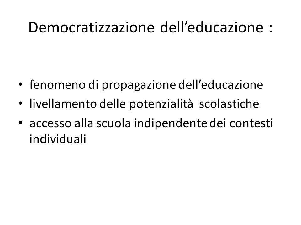 Democratizzazione delleducazione : fenomeno di propagazione delleducazione livellamento delle potenzialità scolastiche accesso alla scuola indipendente dei contesti individuali