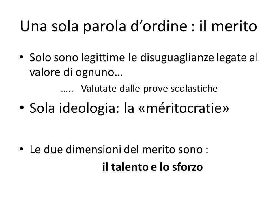 Una sola parola dordine : il merito Solo sono legittime le disuguaglianze legate al valore di ognuno… …..