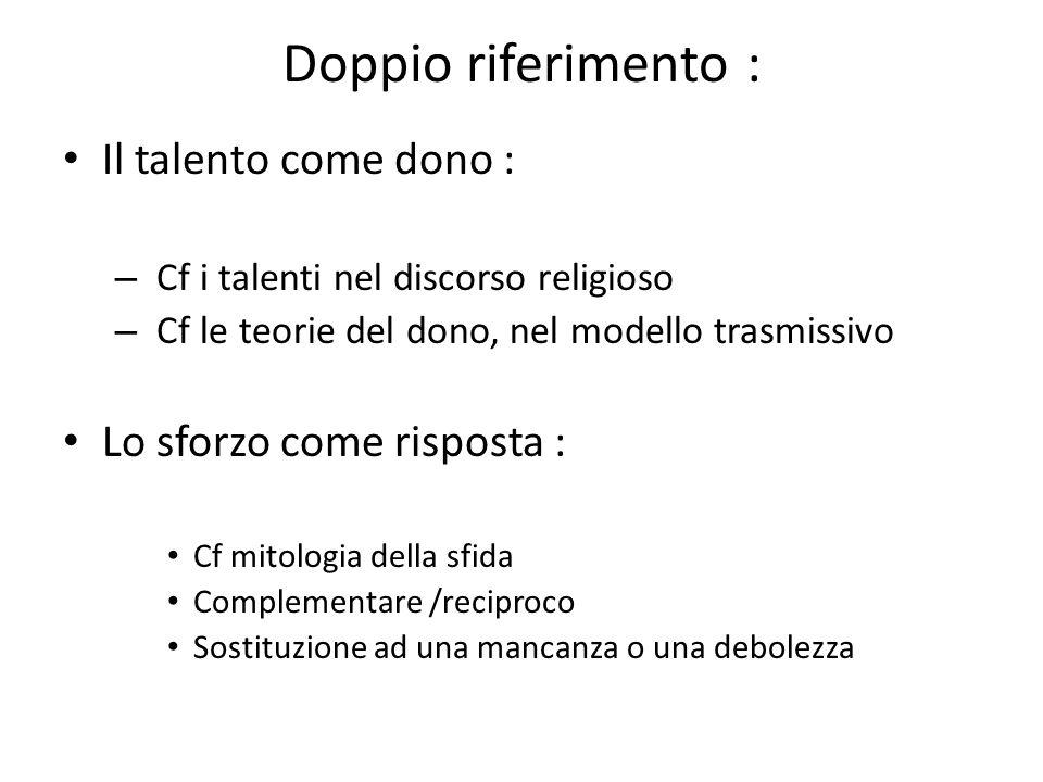 Doppio riferimento : Il talento come dono : – Cf i talenti nel discorso religioso – Cf le teorie del dono, nel modello trasmissivo Lo sforzo come risp