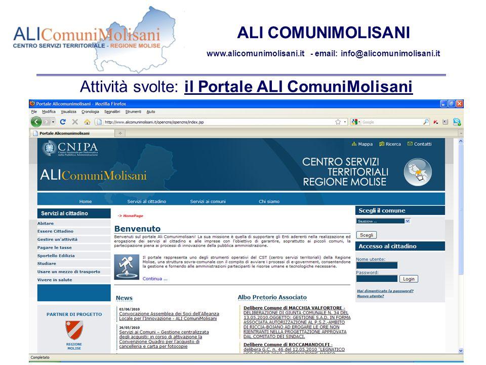 Campobasso 9 giugno 2010 – 2^ Assemblea soci ALI ComuniMolisani 11 ALI COMUNIMOLISANI www.alicomunimolisani.it - email: info@alicomunimolisani.it Attività svolte: il Portale ALI ComuniMolisani