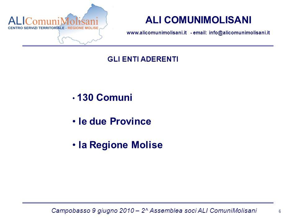 Campobasso 9 giugno 2010 – 2^ Assemblea soci ALI ComuniMolisani 6 ALI COMUNIMOLISANI www.alicomunimolisani.it - email: info@alicomunimolisani.it GLI ENTI ADERENTI 130 Comuni le due Province la Regione Molise