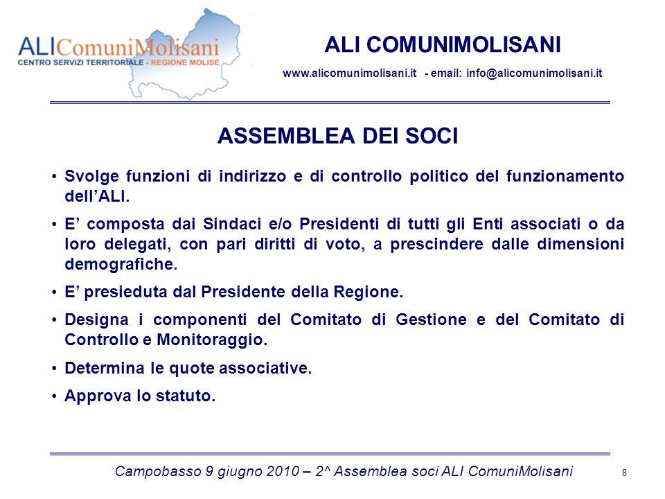 Campobasso 9 giugno 2010 – 2^ Assemblea soci ALI ComuniMolisani 8 ALI COMUNIMOLISANI www.alicomunimolisani.it - email: info@alicomunimolisani.it ASSEMBLEA DEI SOCI Svolge funzioni di indirizzo e di controllo politico del funzionamento dellALI.