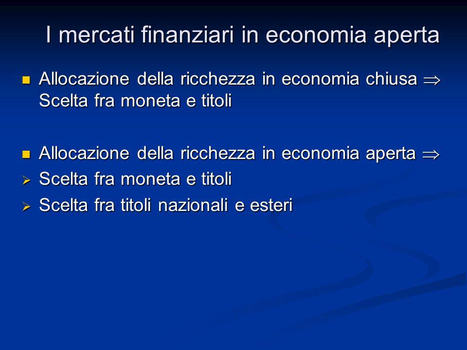 Allocazione della ricchezza in economia chiusa Scelta fra moneta e titoli Allocazione della ricchezza in economia chiusa Scelta fra moneta e titoli Al