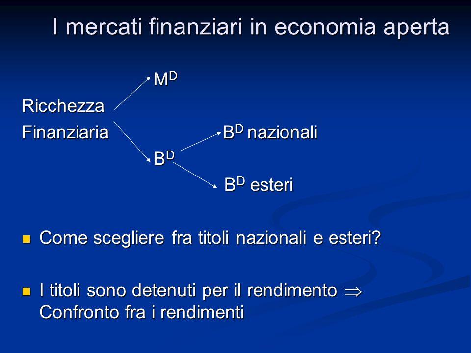 M D M DRicchezza Finanziaria B D nazionali B D B D B D esteri B D esteri Come scegliere fra titoli nazionali e esteri? Come scegliere fra titoli nazio