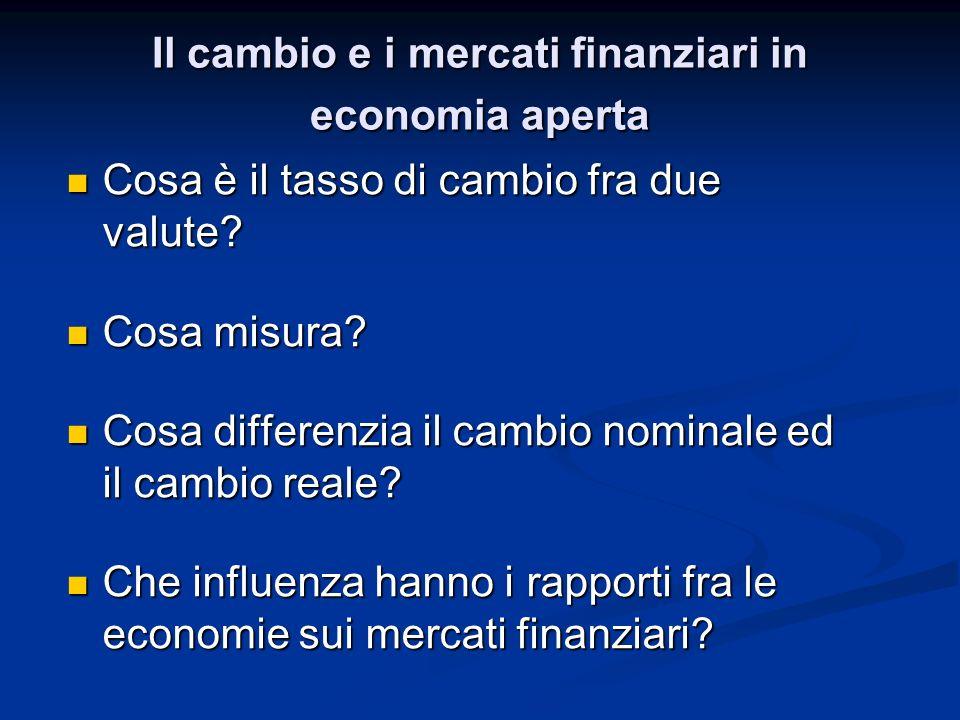 I mercati finanziari in economia aperta $ = euro $ = euro Limpiego di 1 euro (in t) in US porta ad ottenere (in t+1) euro Se valuto linvestimento dopo averlo effettuato (in t+1) conosco il cambio E t+1 Se valuto linvestimento dopo averlo effettuato (in t+1) conosco il cambio E t+1 Se sto confrontando i due investimenti in US e in Italia prima di effettuarli (in t) non conosco E t+1 Aspettative Cambio atteso Se sto confrontando i due investimenti in US e in Italia prima di effettuarli (in t) non conosco E t+1 Aspettative Cambio atteso