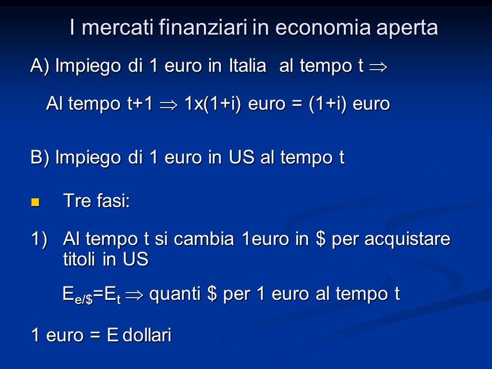 A) Impiego di 1 euro in Italia al tempo t A) Impiego di 1 euro in Italia al tempo t Al tempo t+1 1x(1+i) euro = (1+i) euro Al tempo t+1 1x(1+i) euro =