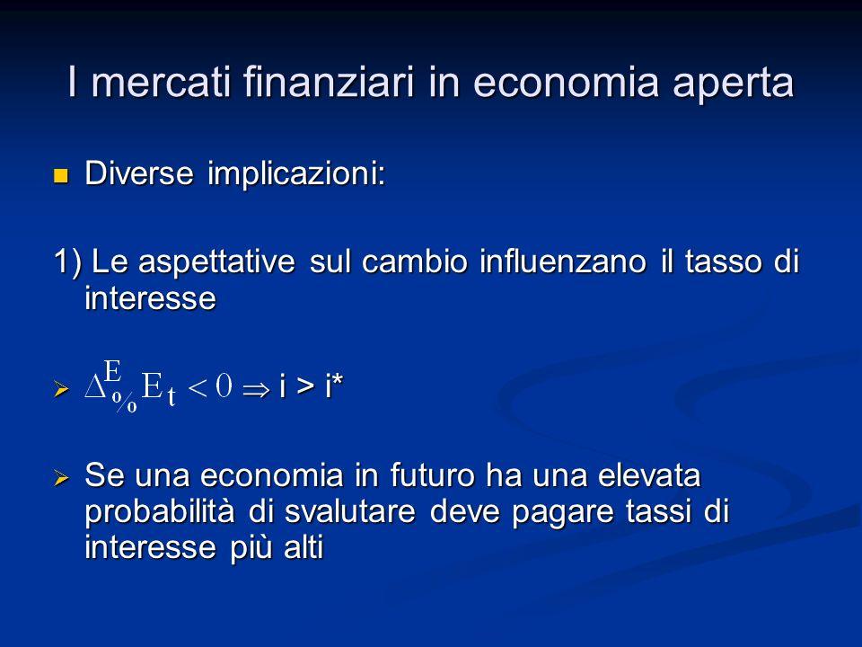 I mercati finanziari in economia aperta Diverse implicazioni: Diverse implicazioni: 1) Le aspettative sul cambio influenzano il tasso di interesse i >