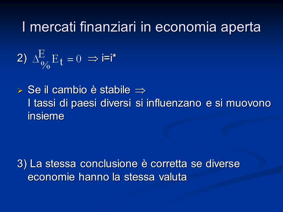 I mercati finanziari in economia aperta 2) i=i* Se il cambio è stabile I tassi di paesi diversi si influenzano e si muovono insieme Se il cambio è sta