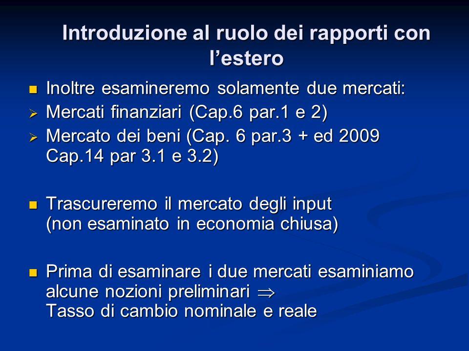 Inoltre esamineremo solamente due mercati: Inoltre esamineremo solamente due mercati: Mercati finanziari (Cap.6 par.1 e 2) Mercati finanziari (Cap.6 p