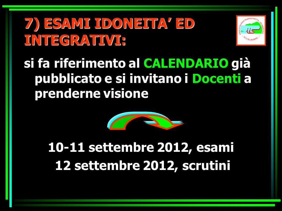 7) ESAMI IDONEITA ED INTEGRATIVI: si fa riferimento al CALENDARIO già pubblicato e si invitano i Docenti a prenderne visione 10-11 settembre 2012, esa