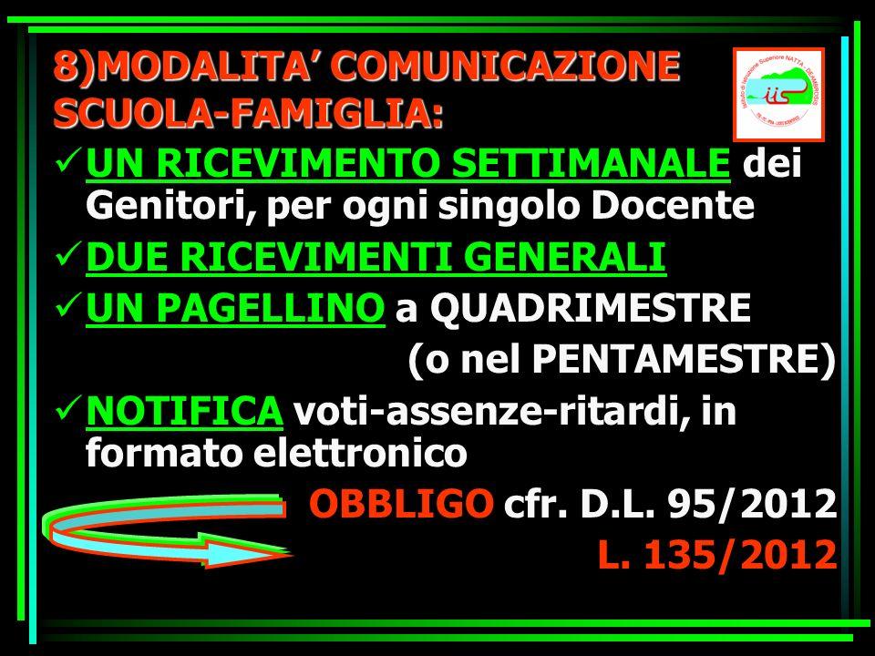 8)MODALITA COMUNICAZIONE SCUOLA-FAMIGLIA: UN RICEVIMENTO SETTIMANALE dei Genitori, per ogni singolo Docente DUE RICEVIMENTI GENERALI UN PAGELLINO a QU