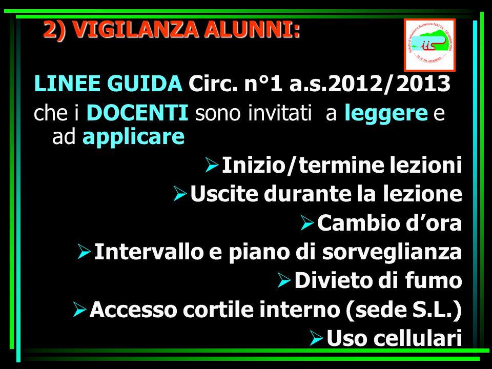 2) VIGILANZA ALUNNI: LINEE GUIDA Circ. n°1 a.s.2012/2013 che i DOCENTI sono invitati a leggere e ad applicare Inizio/termine lezioni Uscite durante la