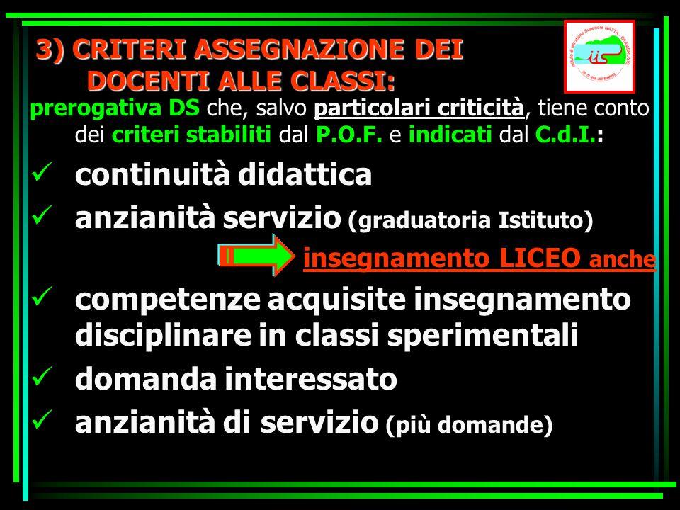 3) CRITERI ASSEGNAZIONE DEI DOCENTI ALLE CLASSI: prerogativa DS che, salvo particolari criticità, tiene conto dei criteri stabiliti dal P.O.F. e indic
