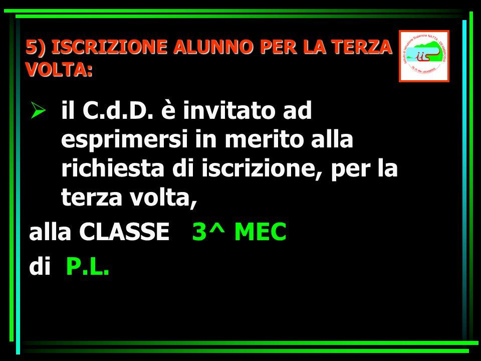 5) ISCRIZIONE ALUNNO PER LA TERZA VOLTA: il C.d.D. è invitato ad esprimersi in merito alla richiesta di iscrizione, per la terza volta, alla CLASSE 3^