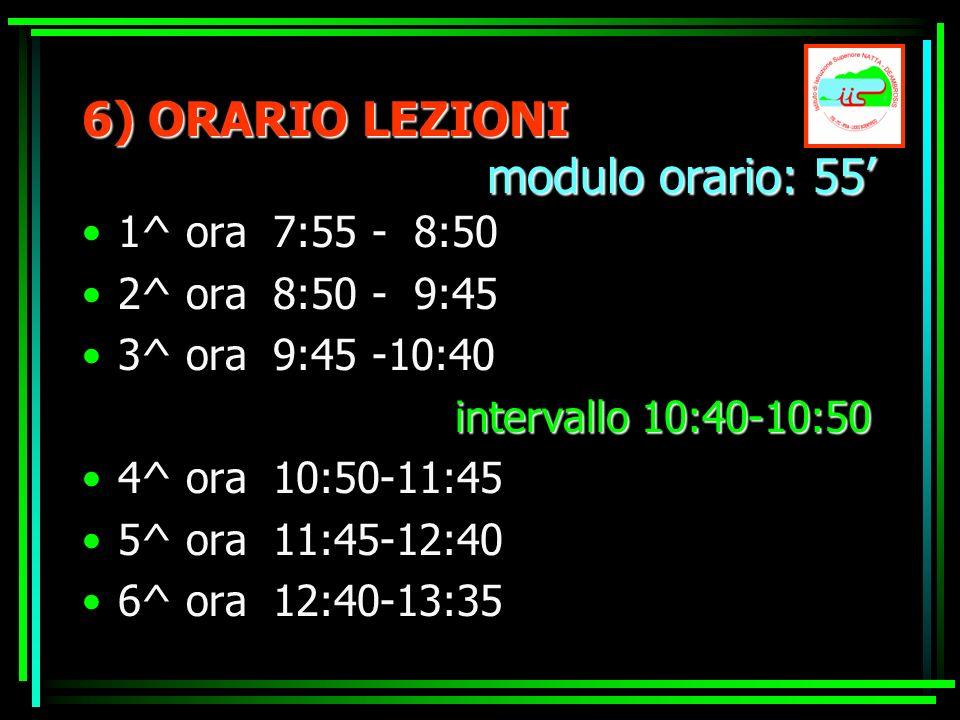 6) ORARIO LEZIONI modulo orario: 55 1^ ora 7:55 - 8:50 2^ ora 8:50 - 9:45 3^ ora 9:45 -10:40 intervallo 10:40-10:50 4^ ora 10:50-11:45 5^ ora 11:45-12