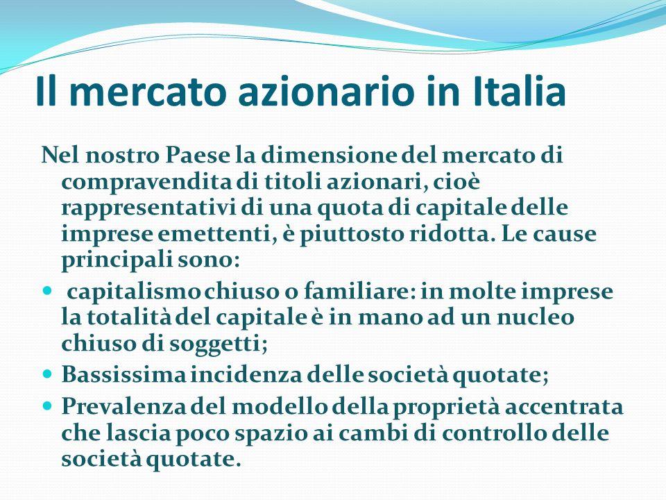 Il mercato azionario in Italia Nel nostro Paese la dimensione del mercato di compravendita di titoli azionari, cioè rappresentativi di una quota di ca