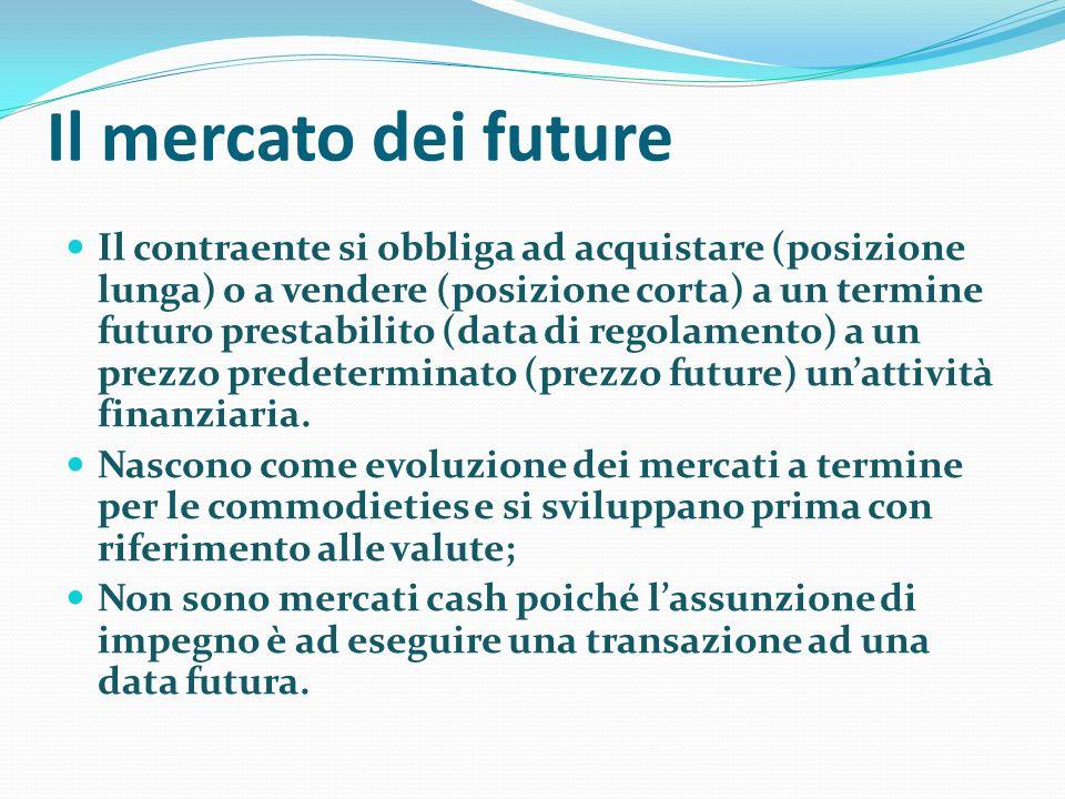 Il mercato dei future Il contraente si obbliga ad acquistare (posizione lunga) o a vendere (posizione corta) a un termine futuro prestabilito (data di