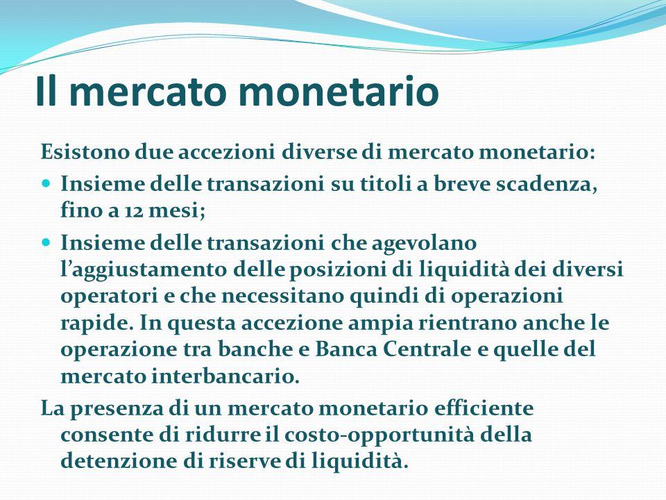 Il mercato monetario Esistono due accezioni diverse di mercato monetario: Insieme delle transazioni su titoli a breve scadenza, fino a 12 mesi; Insiem