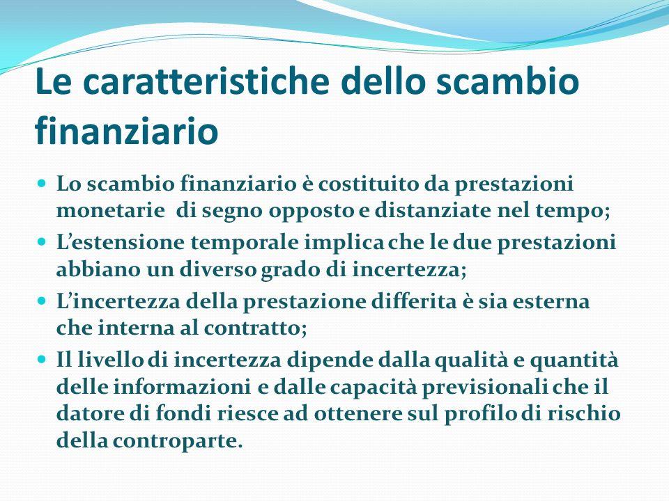 Le caratteristiche dello scambio finanziario Lo scambio finanziario è costituito da prestazioni monetarie di segno opposto e distanziate nel tempo; Le