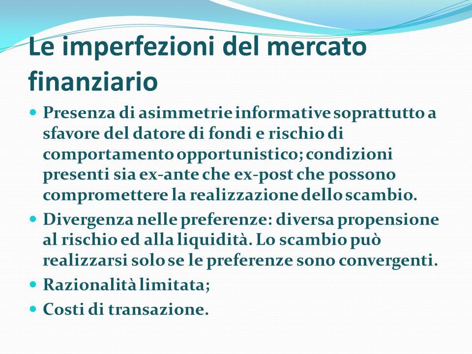 Le imperfezioni del mercato finanziario Presenza di asimmetrie informative soprattutto a sfavore del datore di fondi e rischio di comportamento opport