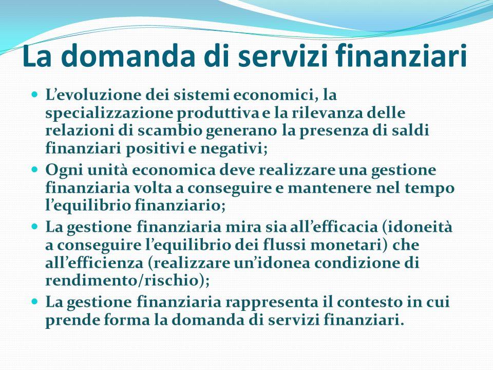 La domanda di servizi finanziari Levoluzione dei sistemi economici, la specializzazione produttiva e la rilevanza delle relazioni di scambio generano