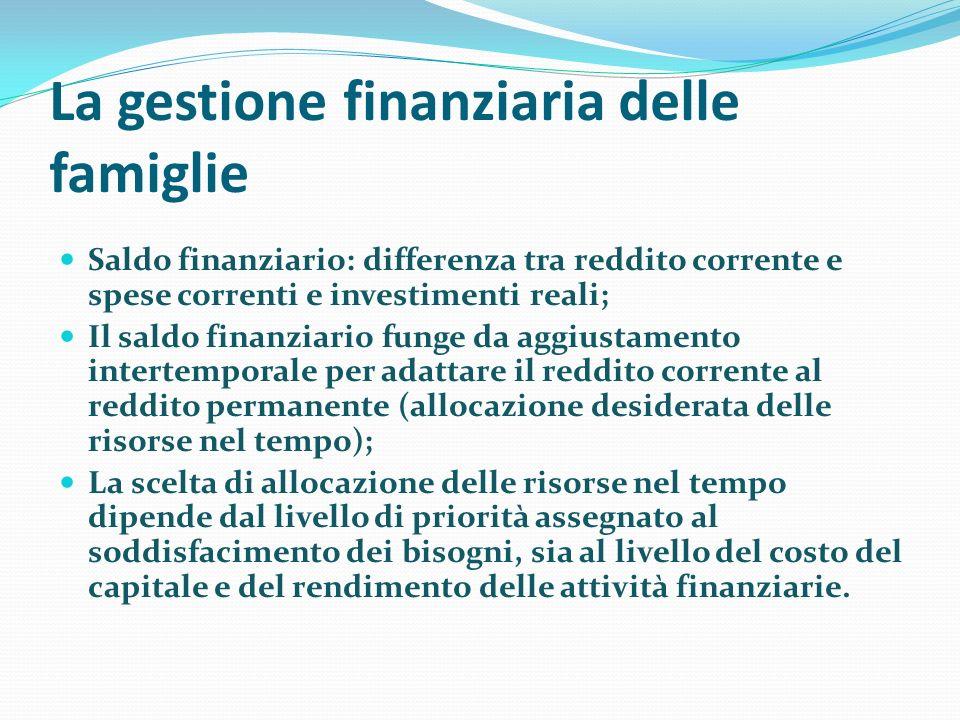 La gestione finanziaria delle famiglie Saldo finanziario: differenza tra reddito corrente e spese correnti e investimenti reali; Il saldo finanziario