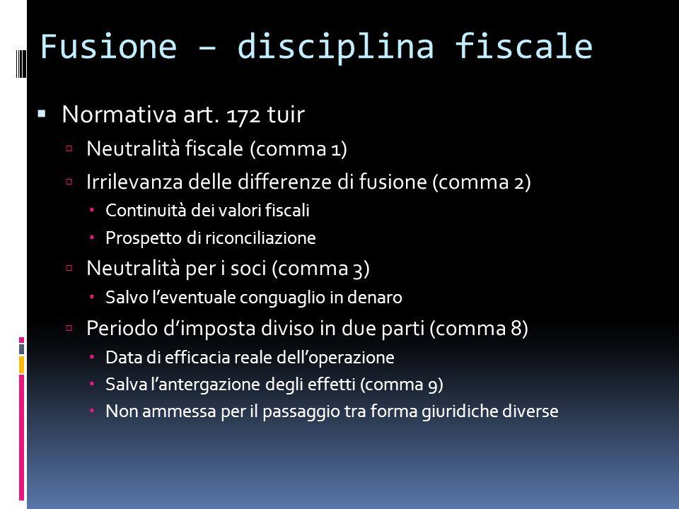 Fusione – disciplina fiscale Normativa art. 172 tuir Neutralità fiscale (comma 1) Irrilevanza delle differenze di fusione (comma 2) Continuità dei val