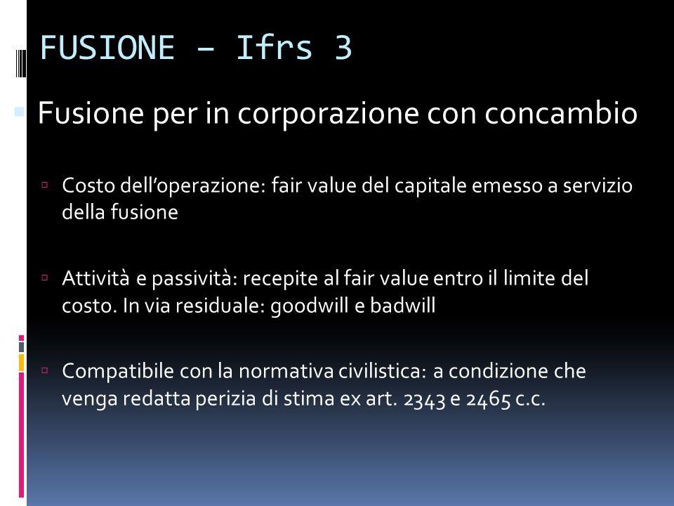 FUSIONE – Ifrs 3 Fusione per in corporazione con concambio Costo delloperazione: fair value del capitale emesso a servizio della fusione Attività e pa