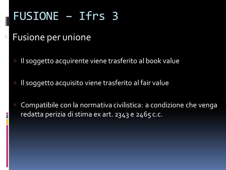 FUSIONE – Ifrs 3 Fusione per unione Il soggetto acquirente viene trasferito al book value Il soggetto acquisito viene trasferito al fair value Compati
