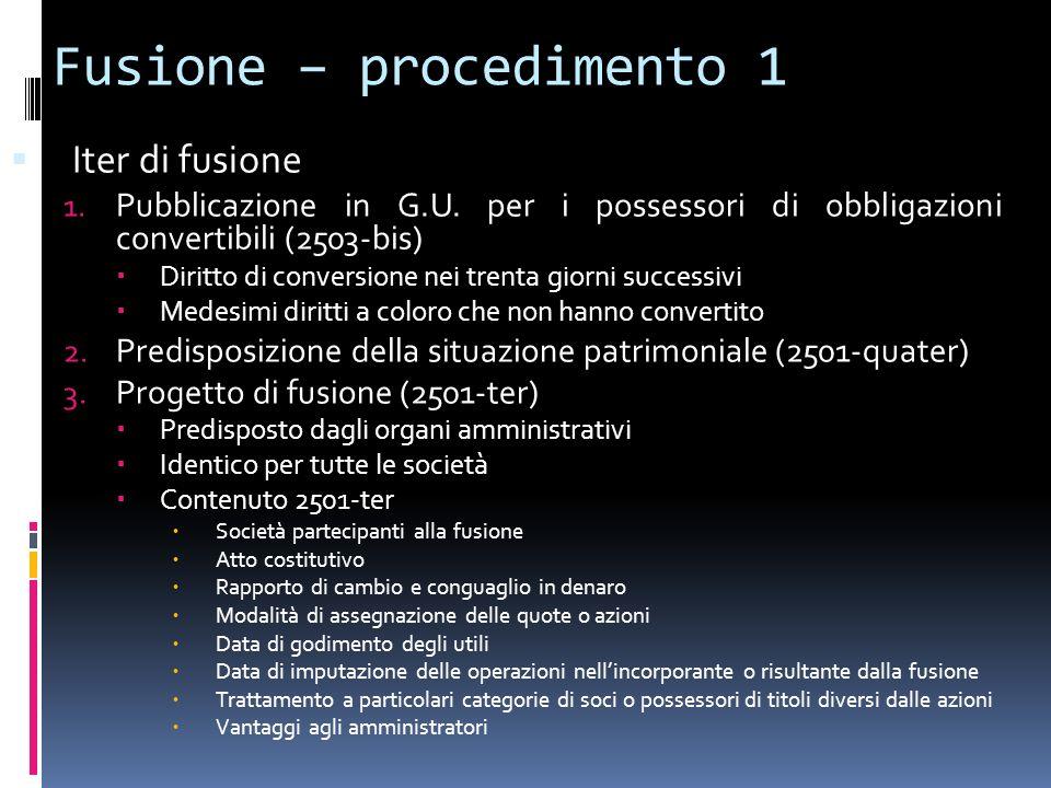 Fusione – procedimento 1 Iter di fusione 1. Pubblicazione in G.U. per i possessori di obbligazioni convertibili (2503-bis) Diritto di conversione nei