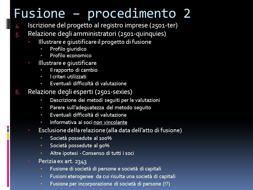 Fusione – procedimento 2 4. Iscrizione del progetto al registro imprese (2501-ter) 5. Relazione degli amministratori (2501-quinquies) Illustrare e giu