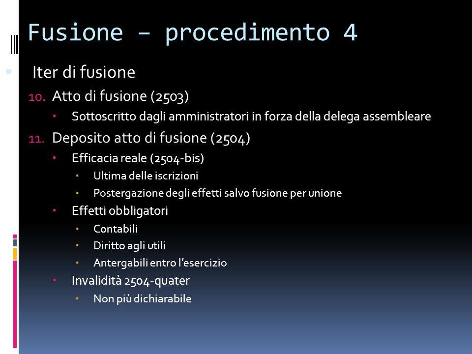 Fusione – procedimento 4 Iter di fusione 10. Atto di fusione (2503) Sottoscritto dagli amministratori in forza della delega assembleare 11. Deposito a