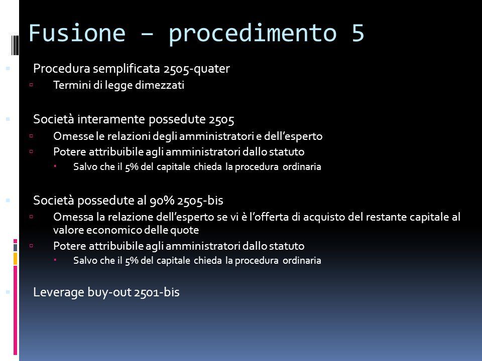 Fusione – procedimento 5 Procedura semplificata 2505-quater Termini di legge dimezzati Società interamente possedute 2505 Omesse le relazioni degli am