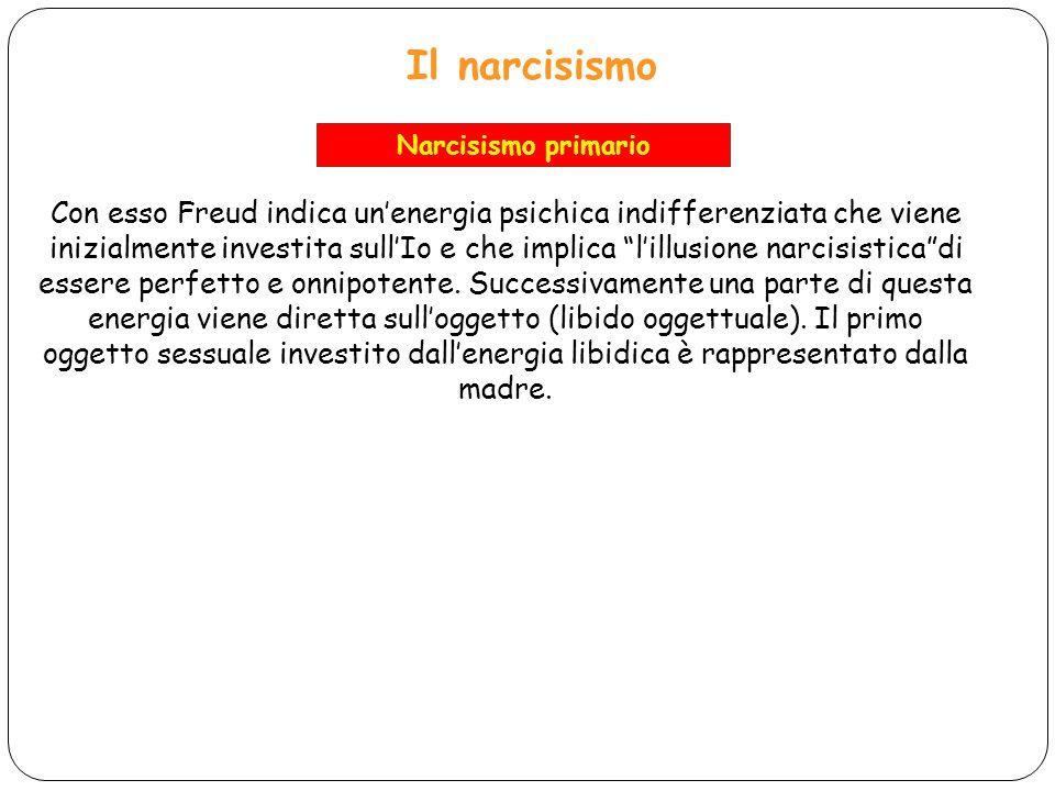 Il narcisismo Con esso Freud indica unenergia psichica indifferenziata che viene inizialmente investita sullIo e che implica lillusione narcisisticadi