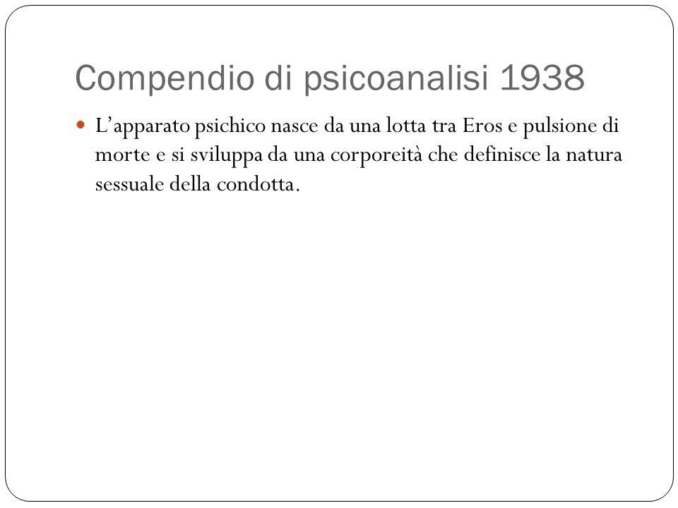 Compendio di psicoanalisi 1938 Lapparato psichico nasce da una lotta tra Eros e pulsione di morte e si sviluppa da una corporeità che definisce la nat