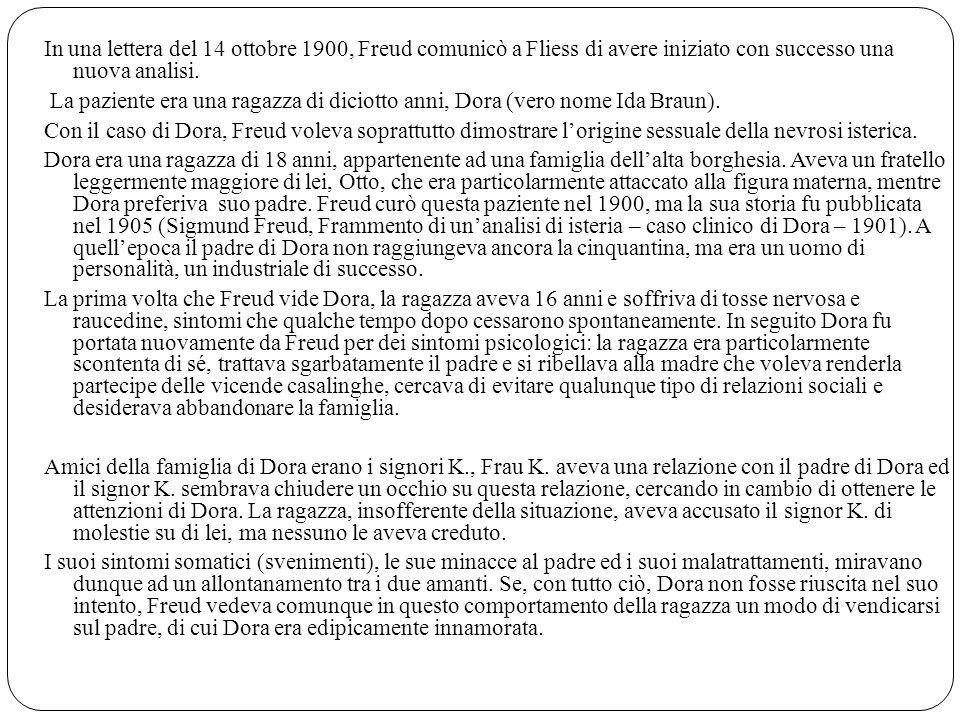 In una lettera del 14 ottobre 1900, Freud comunicò a Fliess di avere iniziato con successo una nuova analisi. La paziente era una ragazza di diciotto
