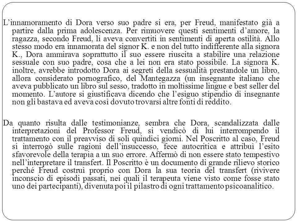 Linnamoramento di Dora verso suo padre si era, per Freud, manifestato già a partire dalla prima adolescenza. Per rimuovere questi sentimenti damore, l