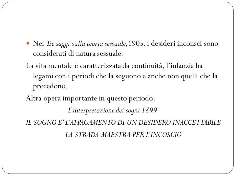 Nei Tre saggi sulla teoria sessuale,1905, i desideri inconsci sono considerati di natura sessuale. La vita mentale è caratterizzata da continuità, lin