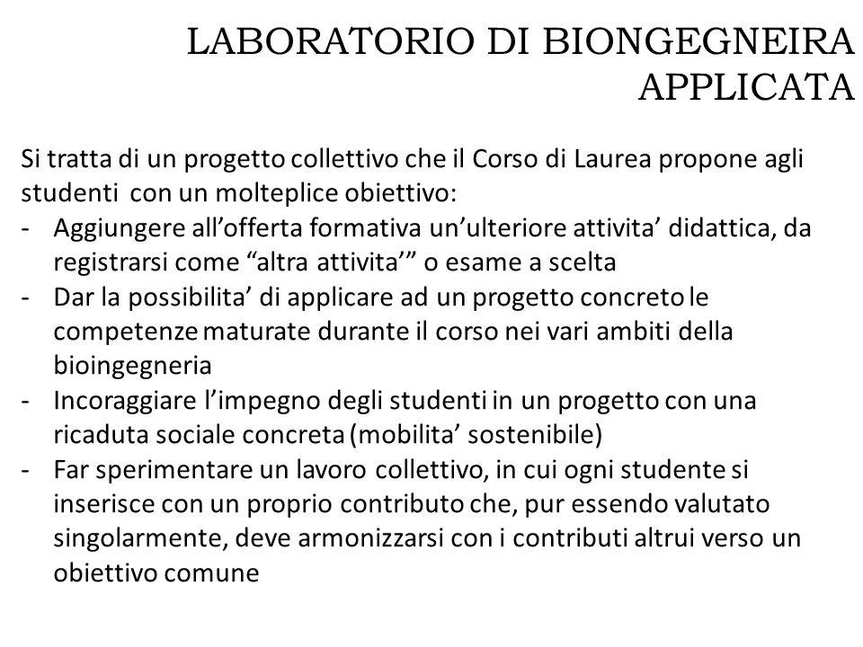 LABORATORIO DI BIONGEGNEIRA APPLICATA Si tratta di un progetto collettivo che il Corso di Laurea propone agli studenti con un molteplice obiettivo: -A