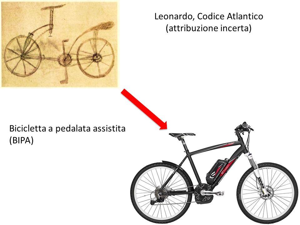 Leonardo, Codice Atlantico (attribuzione incerta) Bicicletta a pedalata assistita (BIPA)