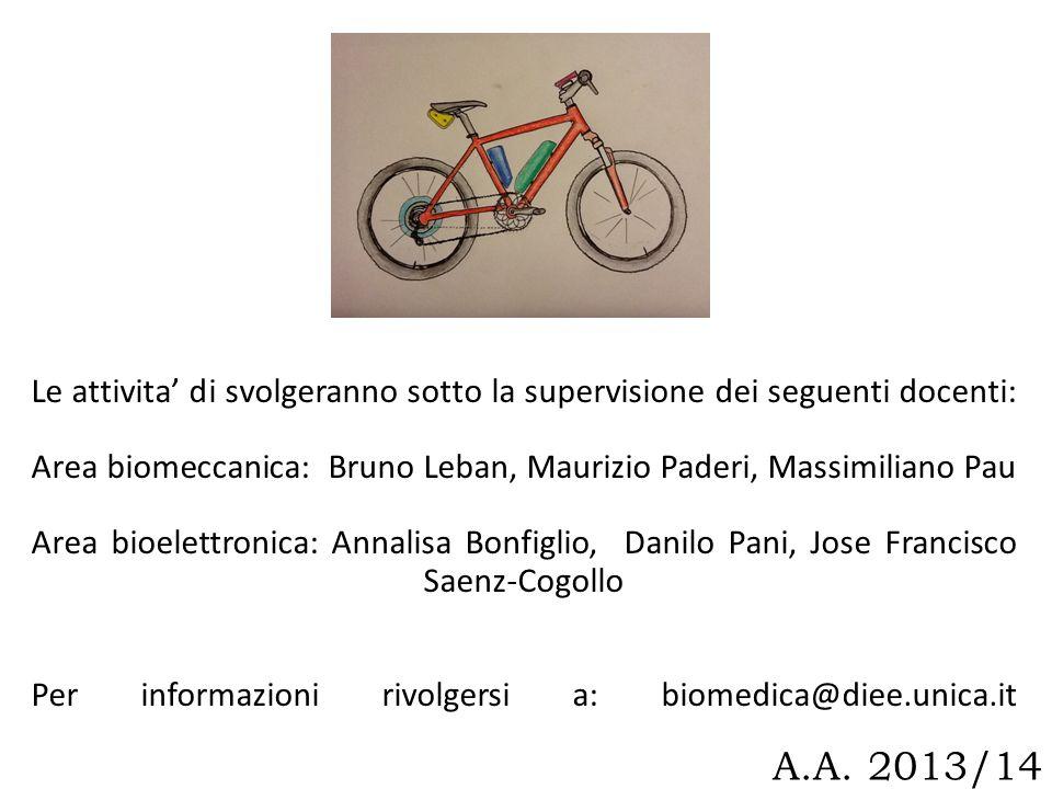 A.A. 2013/14 Le attivita di svolgeranno sotto la supervisione dei seguenti docenti: Area biomeccanica: Bruno Leban, Maurizio Paderi, Massimiliano Pau