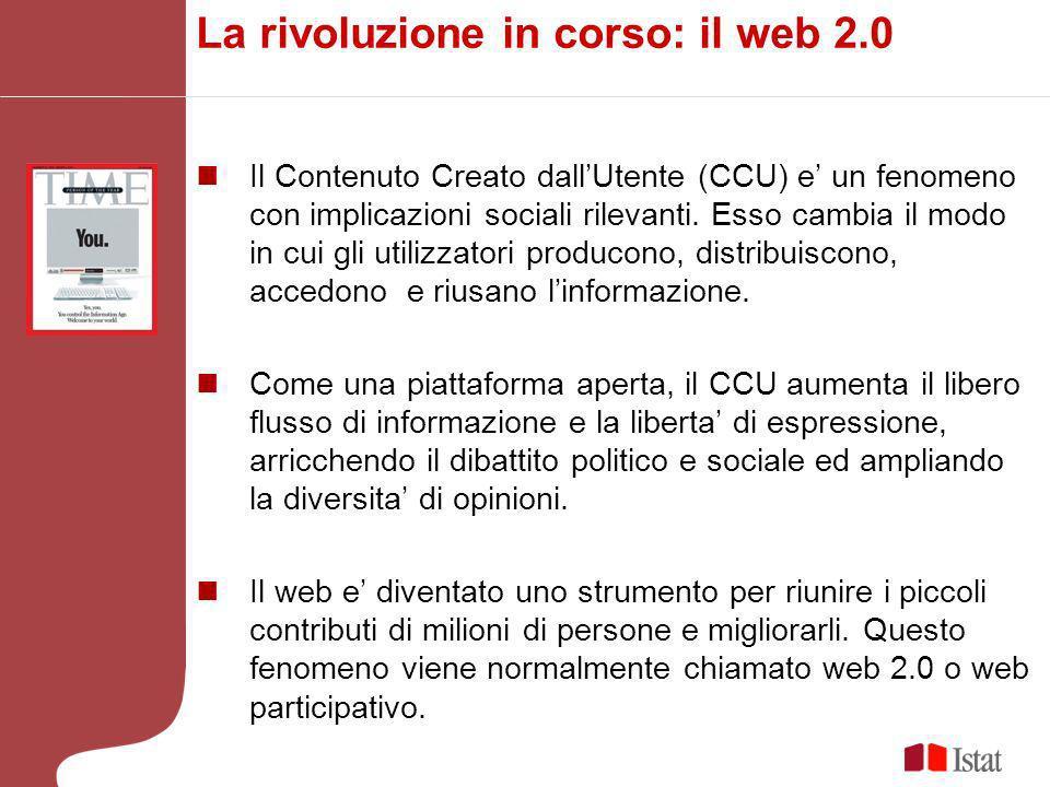 La rivoluzione in corso: il web 2.0 Il Contenuto Creato dallUtente (CCU) e un fenomeno con implicazioni sociali rilevanti.