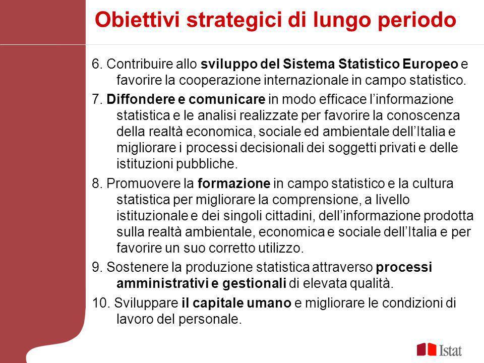 6. Contribuire allo sviluppo del Sistema Statistico Europeo e favorire la cooperazione internazionale in campo statistico. 7. Diffondere e comunicare