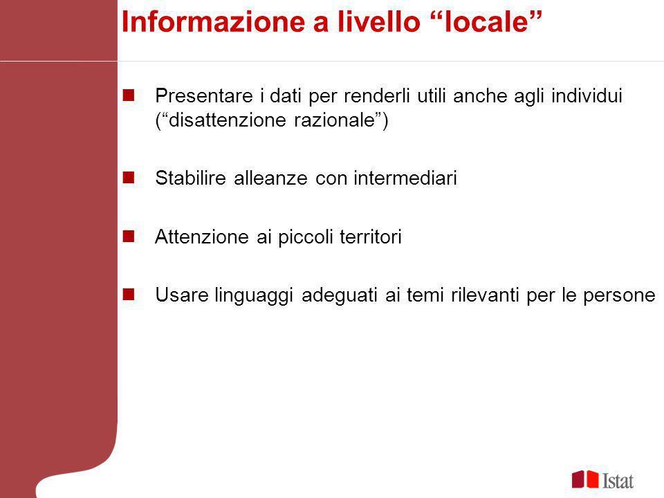 Informazione a livello locale Presentare i dati per renderli utili anche agli individui (disattenzione razionale) Stabilire alleanze con intermediari Attenzione ai piccoli territori Usare linguaggi adeguati ai temi rilevanti per le persone
