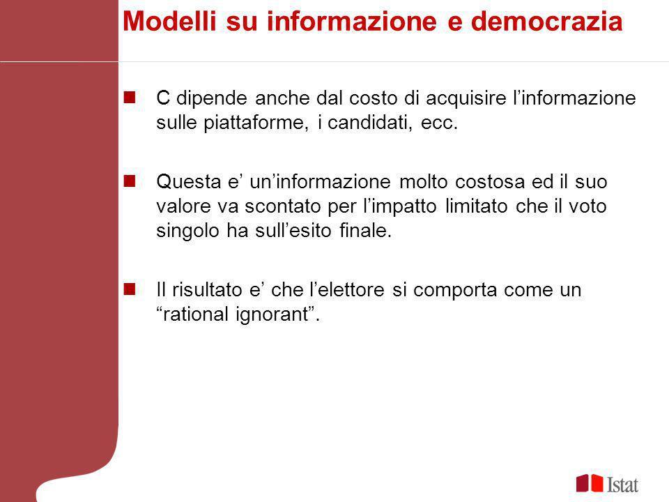 Modelli su informazione e democrazia C dipende anche dal costo di acquisire linformazione sulle piattaforme, i candidati, ecc.