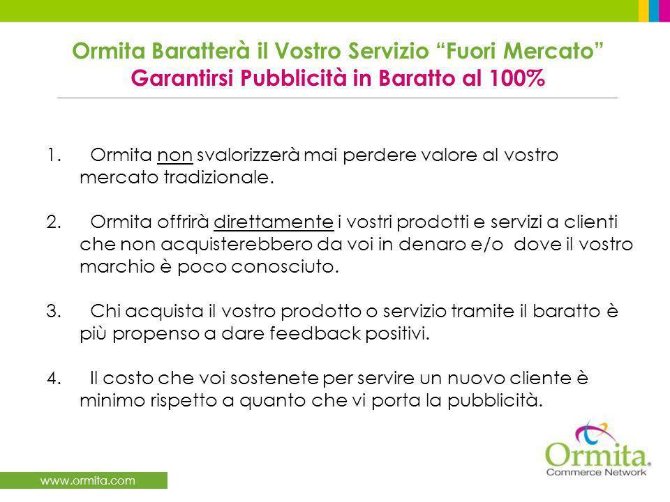 www.ormita.com 1. Ormita non svalorizzerà mai perdere valore al vostro mercato tradizionale.
